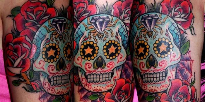 sugar skull, tattoo, tattoos huesca, tatuajes jaca , tattoo color, calavera tattoo, tatuajes de calaveras, tattoos guapos