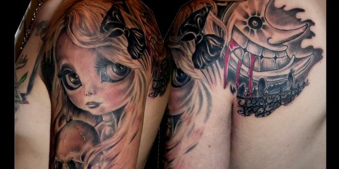 trecedepicas tattoo, tatuaje de muñeca,toy tattoo,tatuajes huesca, jaca tattoo, tatuajes en sombras