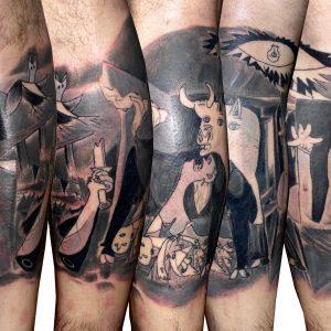 tatuaje tattoo cuadro gernika picasso gemelo negro gris 13depicas jaca huesca