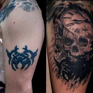 tatuaje tattoo calavera reloj skull black grey cover tapado brazo 13depicas