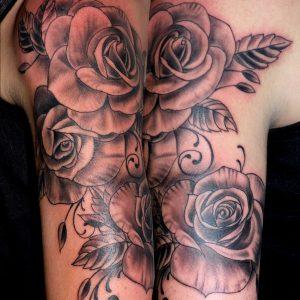 tatuaje rosas black grey negro gris bazo 13depicas.com