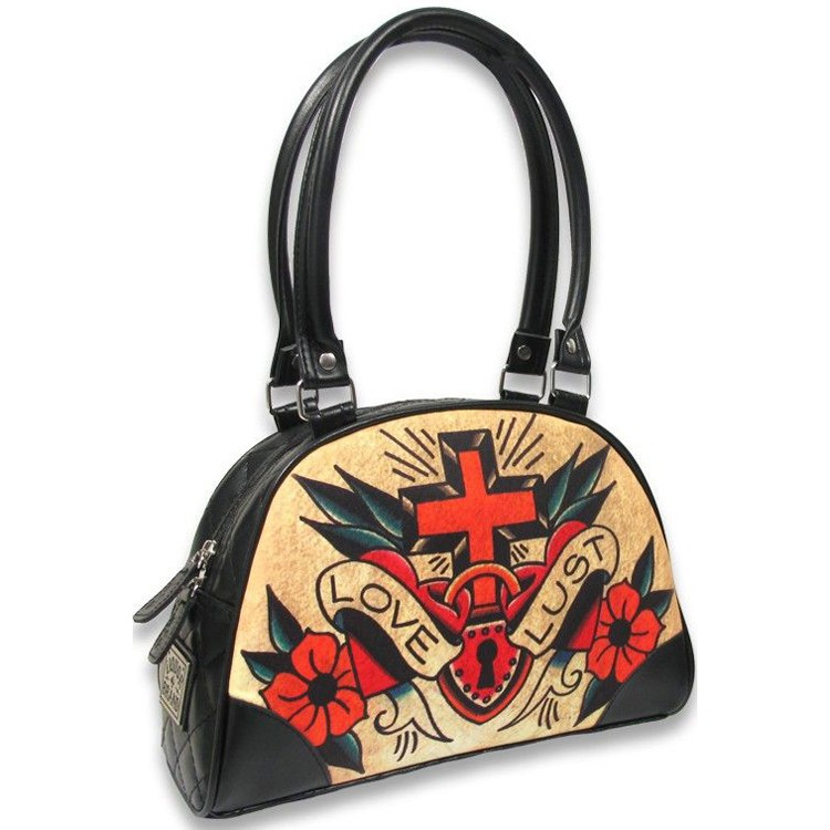 bolso bowling old school cruz corazón candado love lust 13depicas