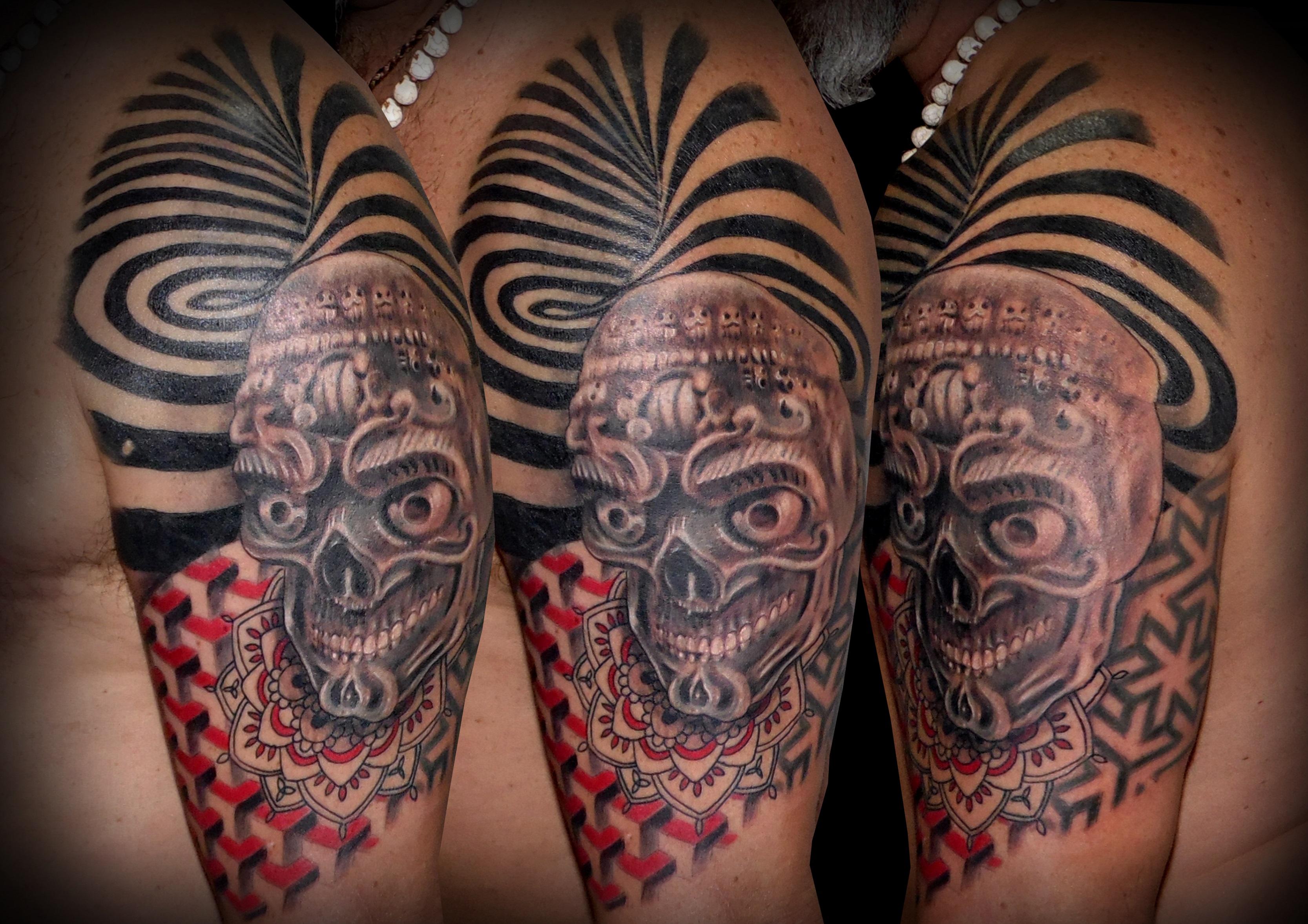 tatuaje tattoo calavera tibetana geométrico mandala color blanco negro 13depicas