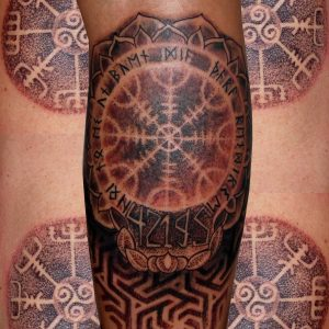 puntillismo tattoo tatuajes huesca jaca tattoo pierna mandala geométrico 13depicas