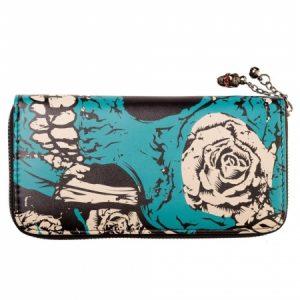 cartera billetera wallet Banned calavera skull rosas color azul cadena 13depicas ropa tattoo online