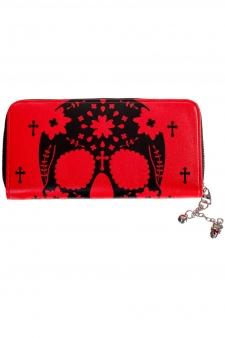Cartera calavera cadena roja skull wallet Banned ropa tattoo clothing online 13depicas