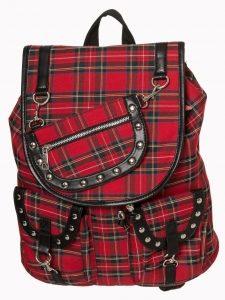 Mochila tartan roja cuadro escocés cadena tachuelas studs bag ropa tattoo clothing online 13depicas
