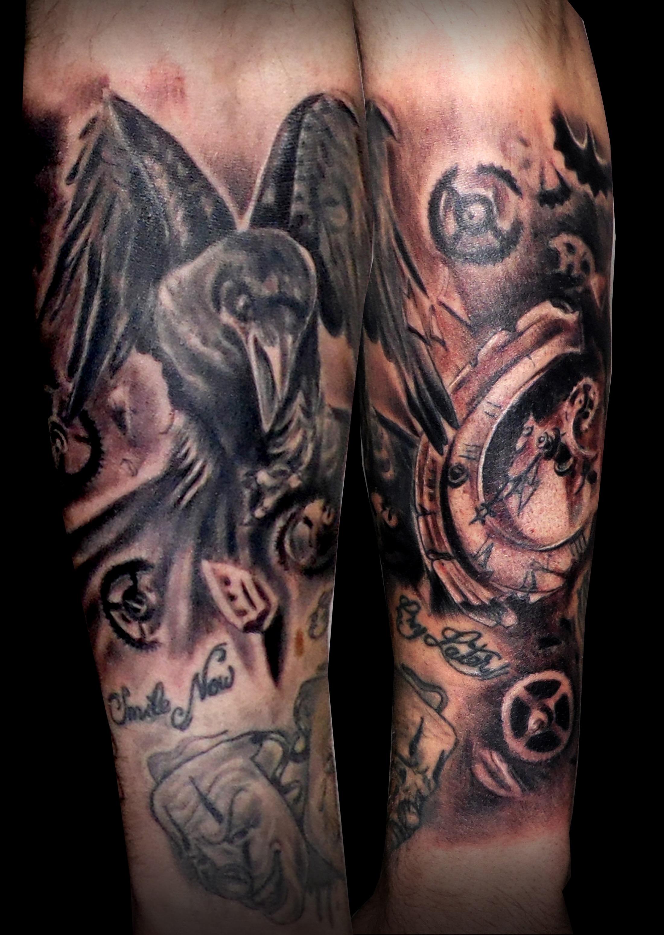 cuervo reloj roto tattoo tattoos tatuajes black grey trecepicas 13depicas huesca jaca antebrazo negro sombras