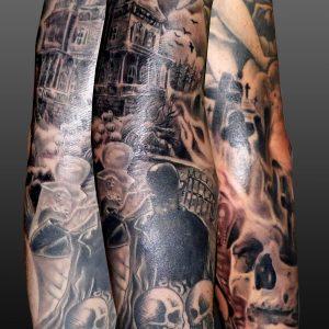 tatuaje tattoo brazo calavera cementerio casa encantada tumbas 13depicas black grey blanco negro