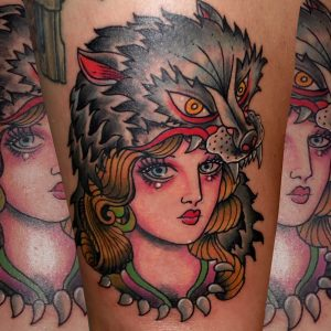 tatuaje tattoo tradicional traditional color chica lobo muslo 13depicas