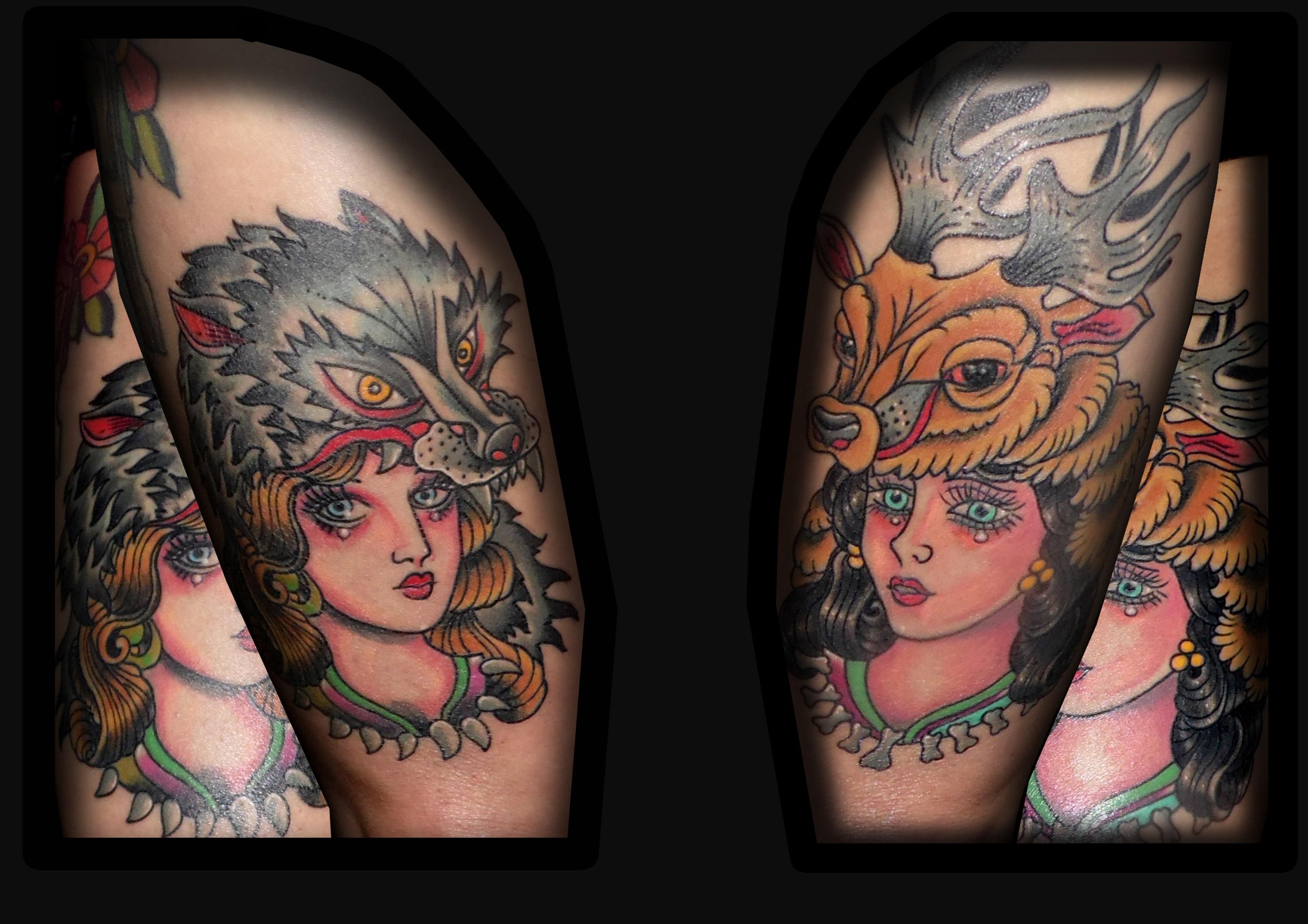 tatuaje tattoo traditional tradicional old school color muslo color chica lobo ciervo 13depicas jaca huesca
