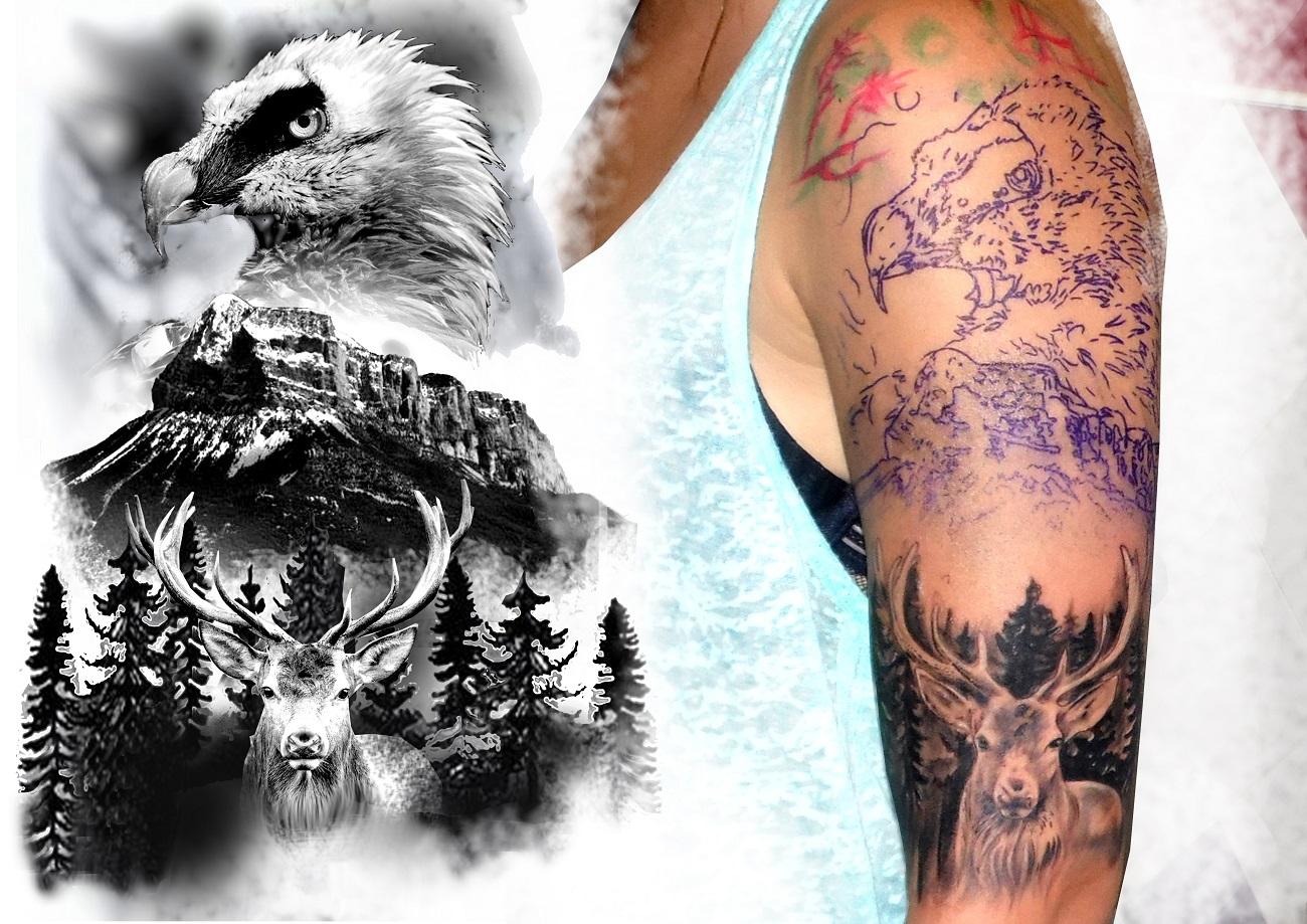 quebrantahuesos tatuaje tattoo ave rapaz montaña animales brazo realismo paisaje 13depicas