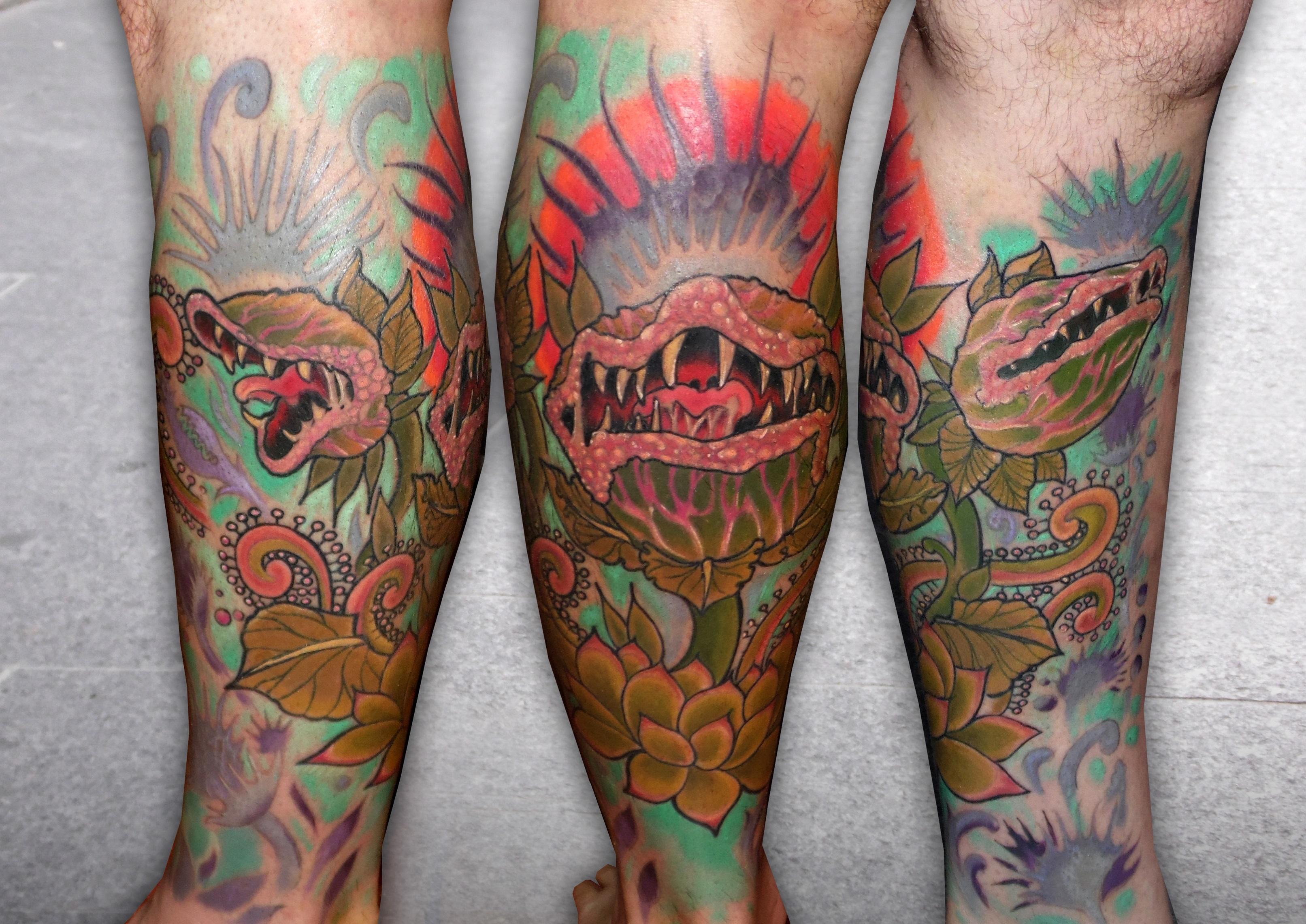 tatuaje tattoo planta carnivora comic color pierna plantas flores gemelo 13depicas