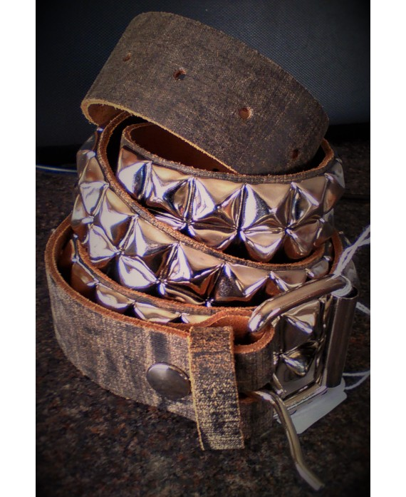 cinturon piramides marron 13depicas ropa alternativa online