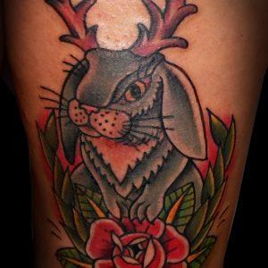 conejo rabit tradicional tattoo jaca tatuajes huesca 13depicas trecedepicas color rosa