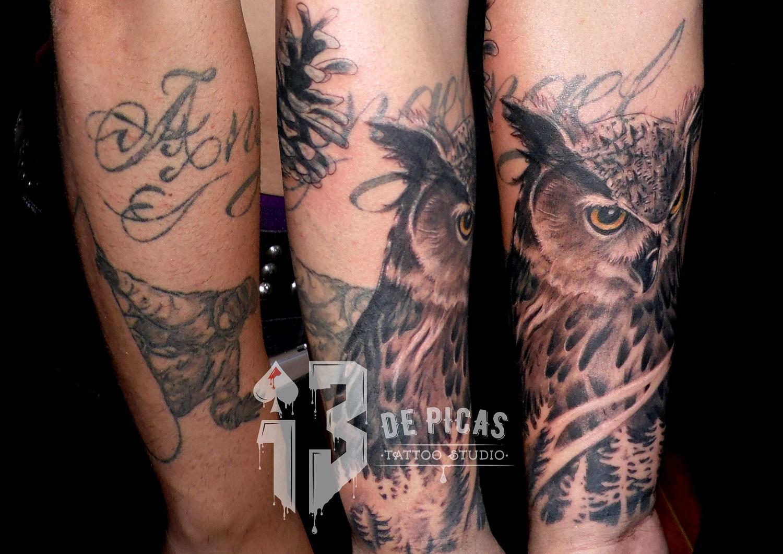 cover tattoo buho trecedepicas en progreso tatuajes jaca 13depicas antebrazo tapado