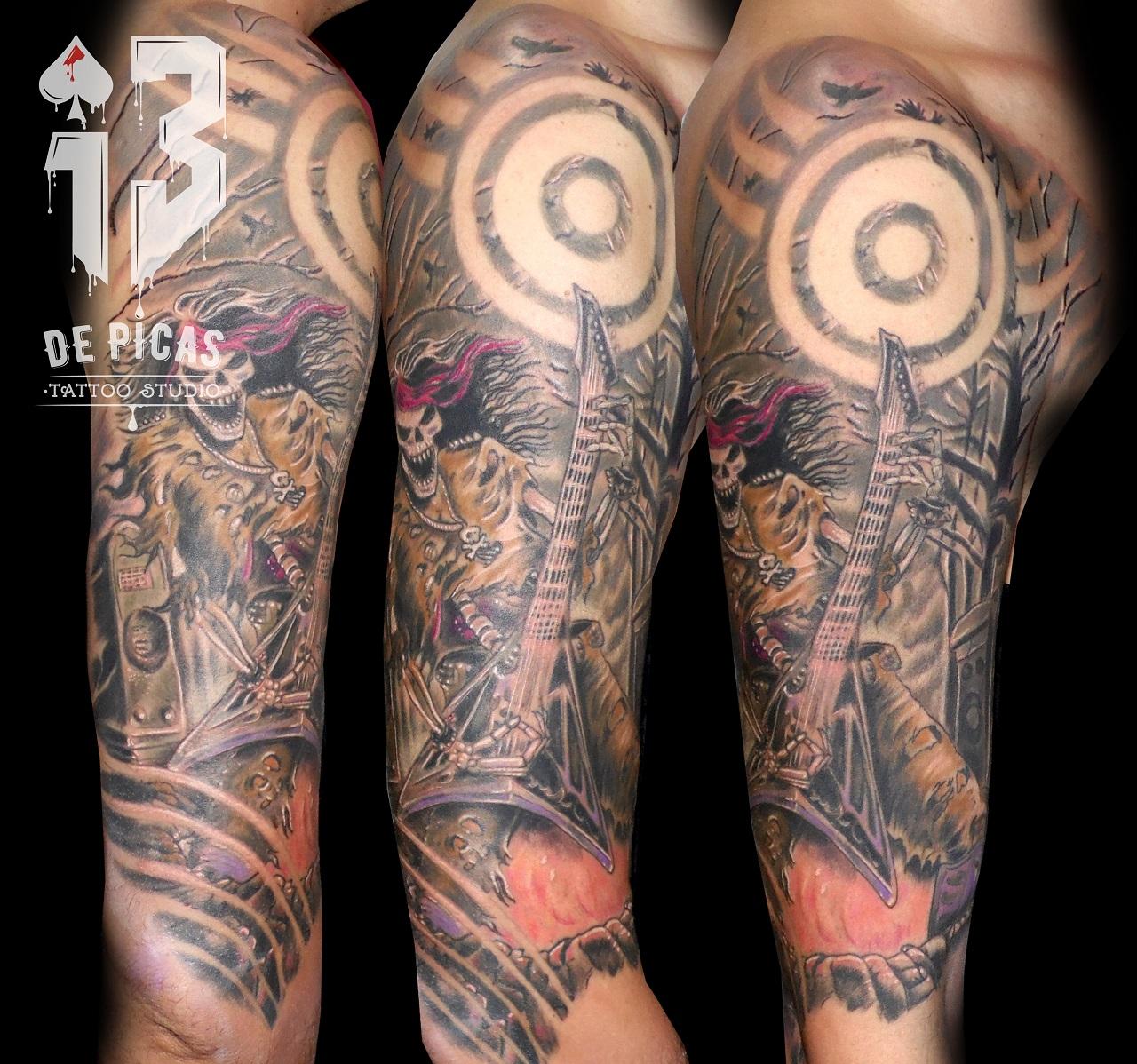 heavy metal tattoo skull tatuajes huesca jaca tattoo 13depicas trecedepicas spain españa tatuadores ilustracion