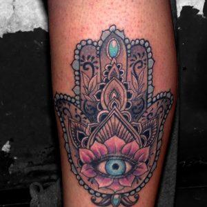mano fatima foto tatuaje tattoo color pierna ojo joyas 13depicas huesca jaca