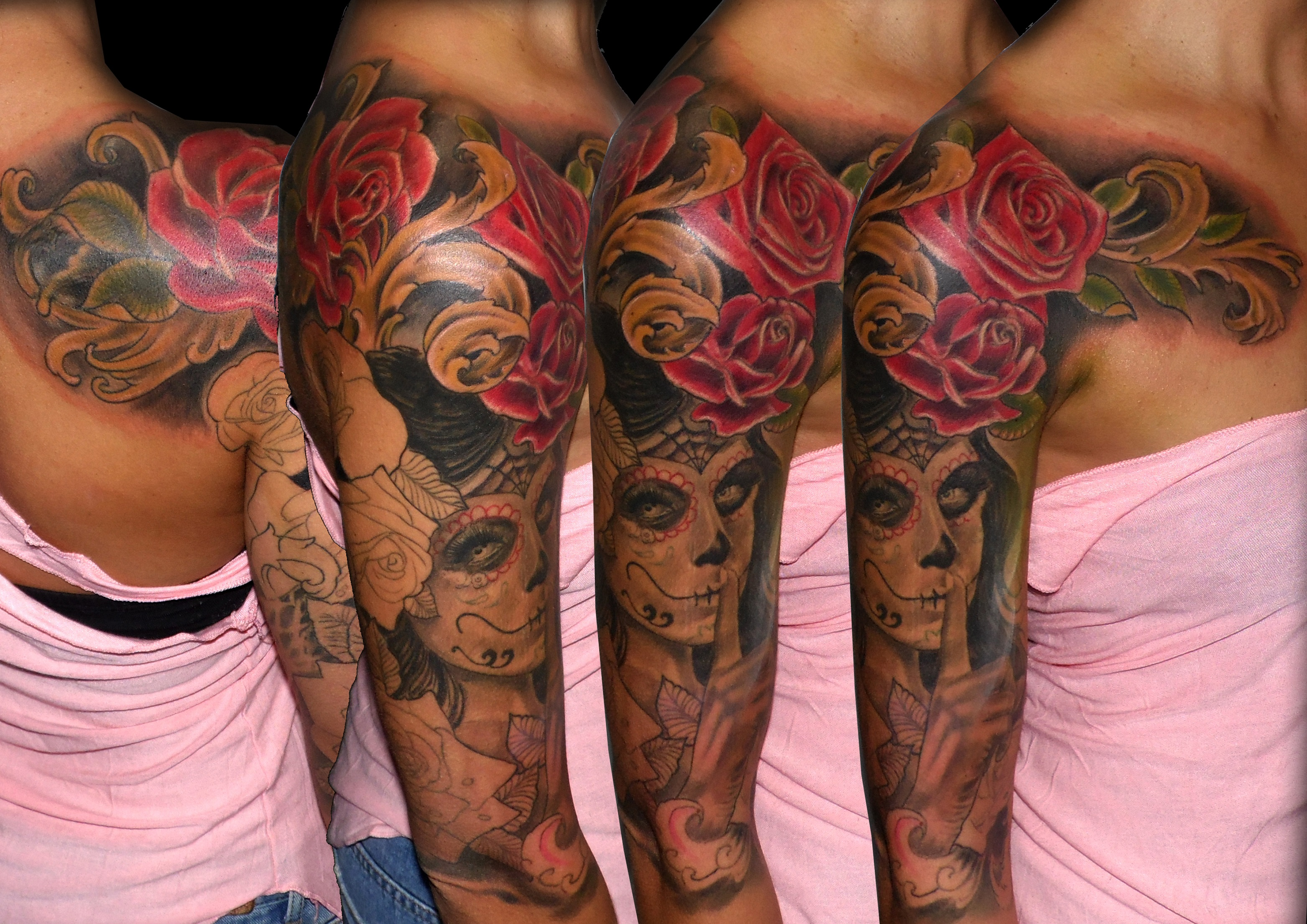 Catrina Con Rosas 13depicascomstudio Tattoopiercingshop