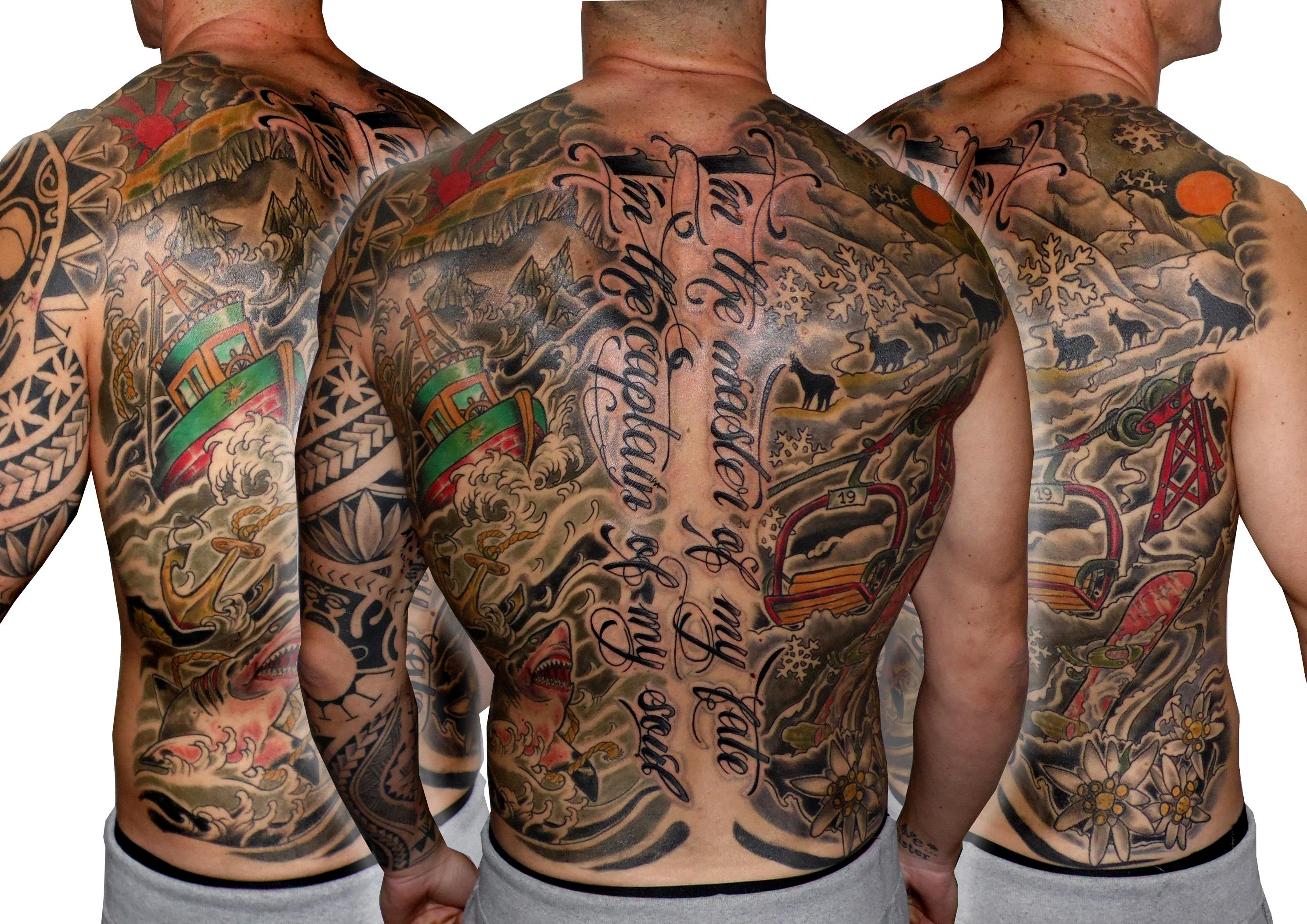tattoo tatuaje espalda entera lettering barco paisaje montaña tiburón esquí nieve flor tribal color black grey 13depicas jaca huesca