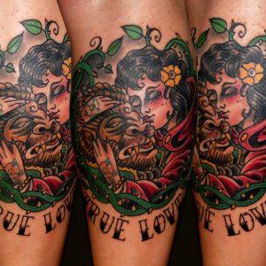 tradicional tattoo bella bestia tatuajes huesca jaca 13depicas trecedepicas madein13 gemelo pierna color