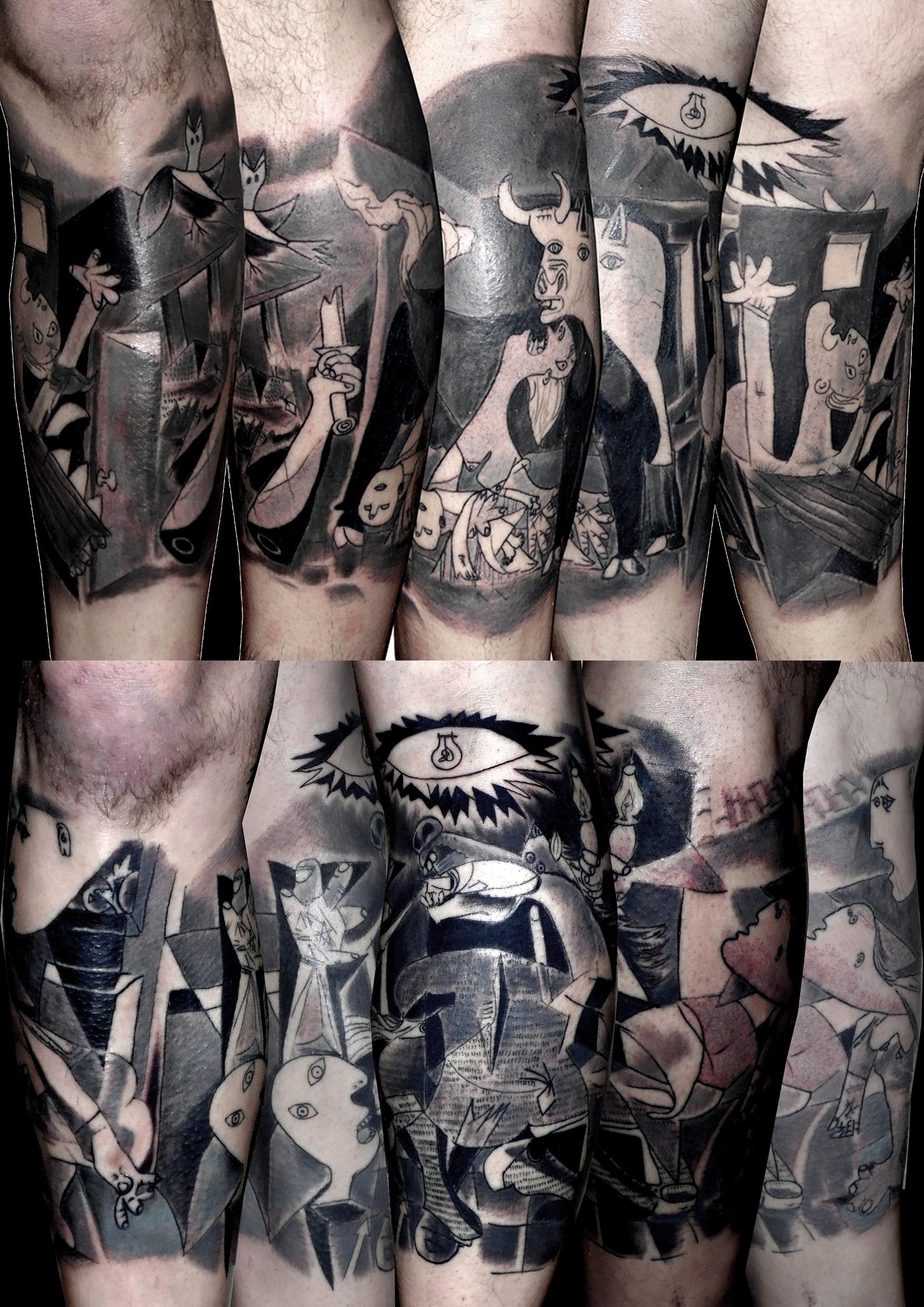 tatuaje cuadro gernika picasso piernas gernica 13depicas jaca huesca