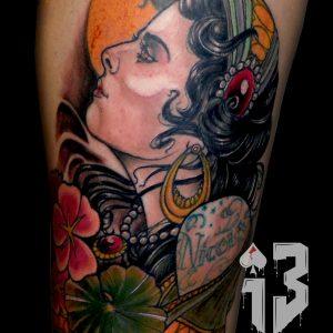 tatuaje tattoo retrato neotraditional gitana color gipsy luna flores muslo 13depicas Jaca Huesca neotradicional