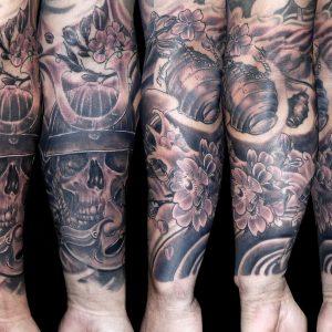 samurai tattoo japones brazo 13depicas calavera flores blanco negro mascara
