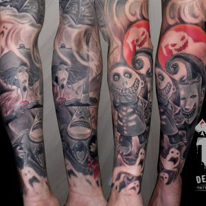 tattoo pesadilla antes navidad tatuaje brazo cómic fantasma 13depicas Jaca Huesca