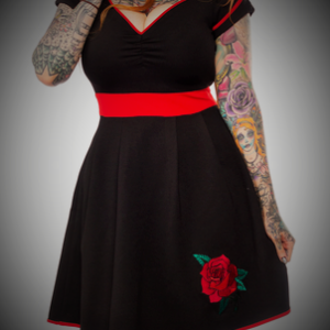 vestido pinup retro vintage negro rojo rosa bordado 13depicas tattoo shop online ropa alternativa