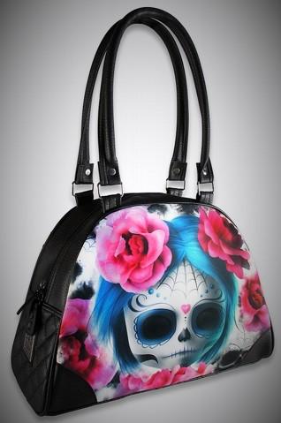 Bolso bowling calavera flores rosas tattoo style moda alternativa rock online 13depicas
