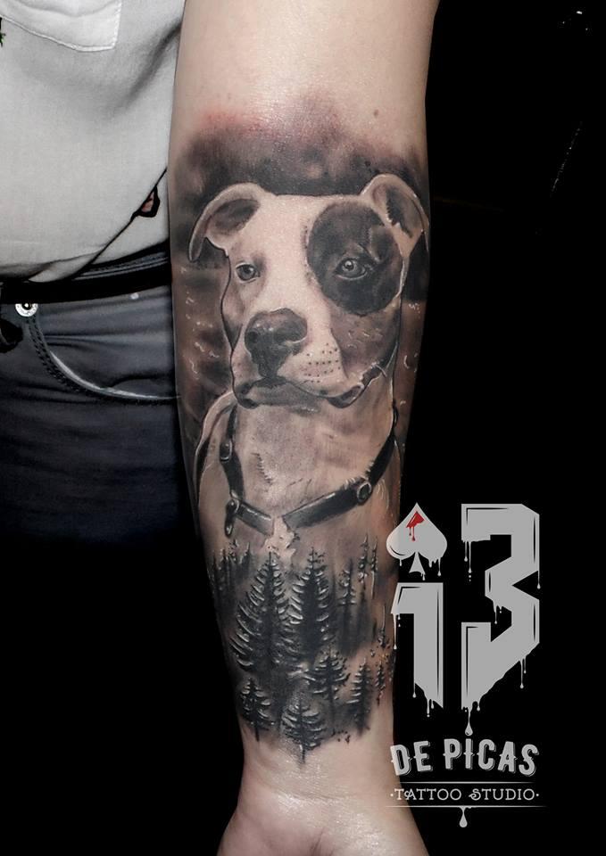 tatuaje tattoo perro retrato antebrazo realista realismo blanco negro 13depicas Jaca Huesca
