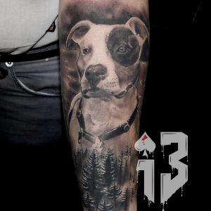 retrato perro logo pitbull tatuaje tattoo perro retrato antebrazo realista realismo blanco negro 13depicas Jaca Huesca