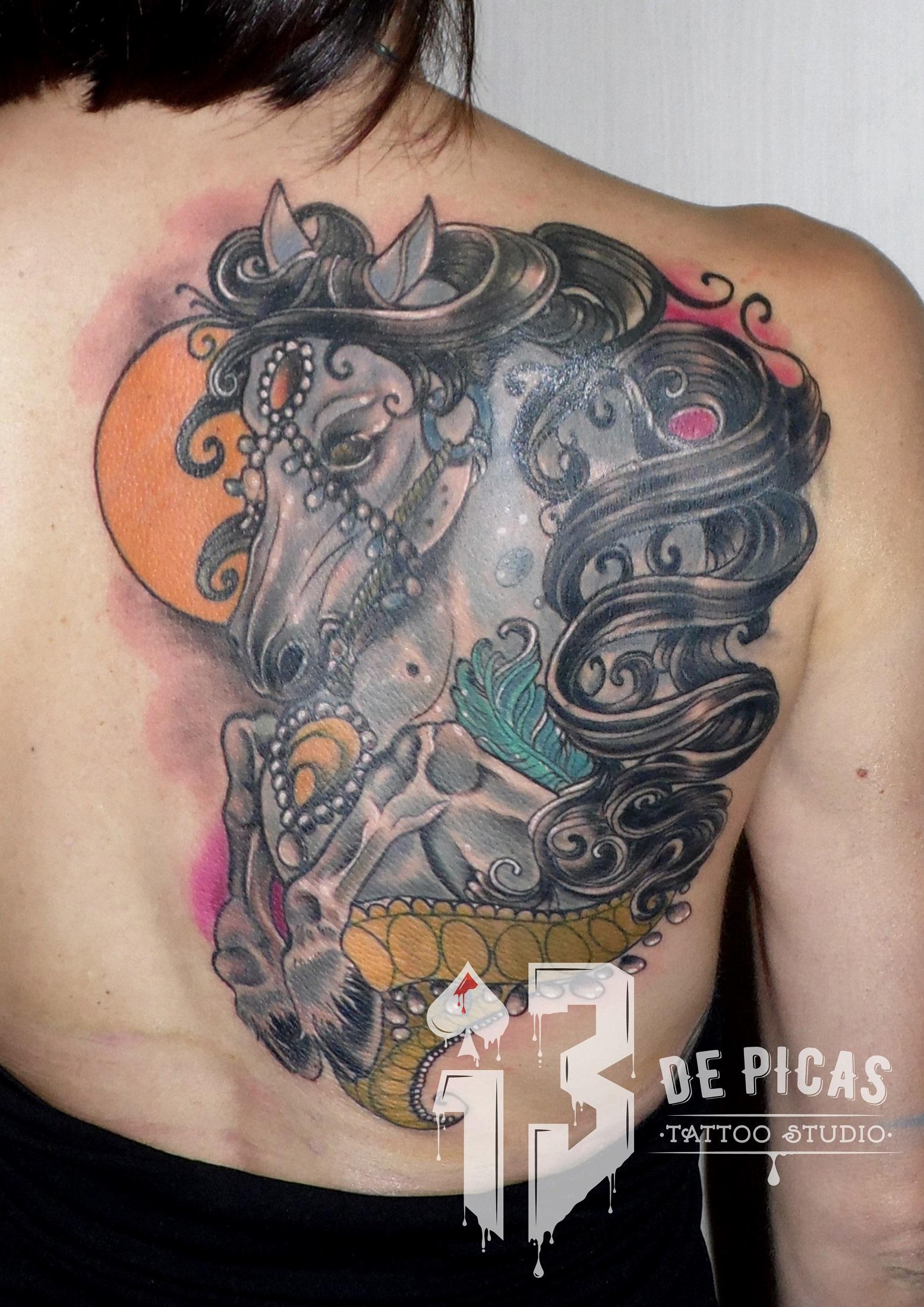 tatuaje tattoo caballo neotradicional color espalda cover tapado 13depicas jaca huesca