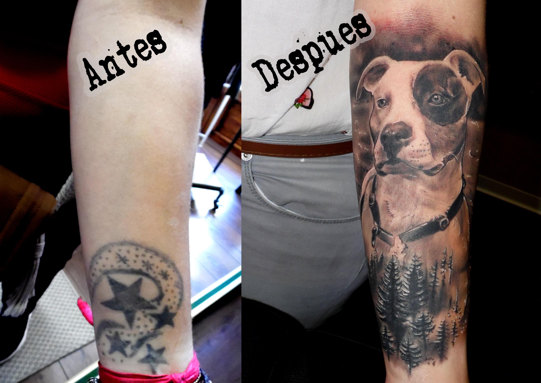 tattoo cover tatuaje perro realista retrato bosque brazo 13depicas Jaca Huesca