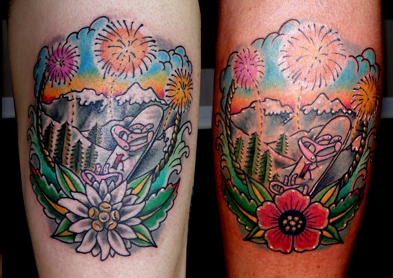 tatuaje tattoo tradicional old school color montaña flores nieve olas 13depicas Jaca Huesca