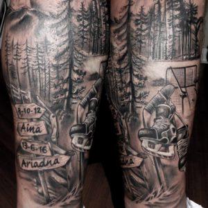 tatuaje tattoo hockey hielo patines bosque montaña nombres pierna sombras 13depicas jaca huesca