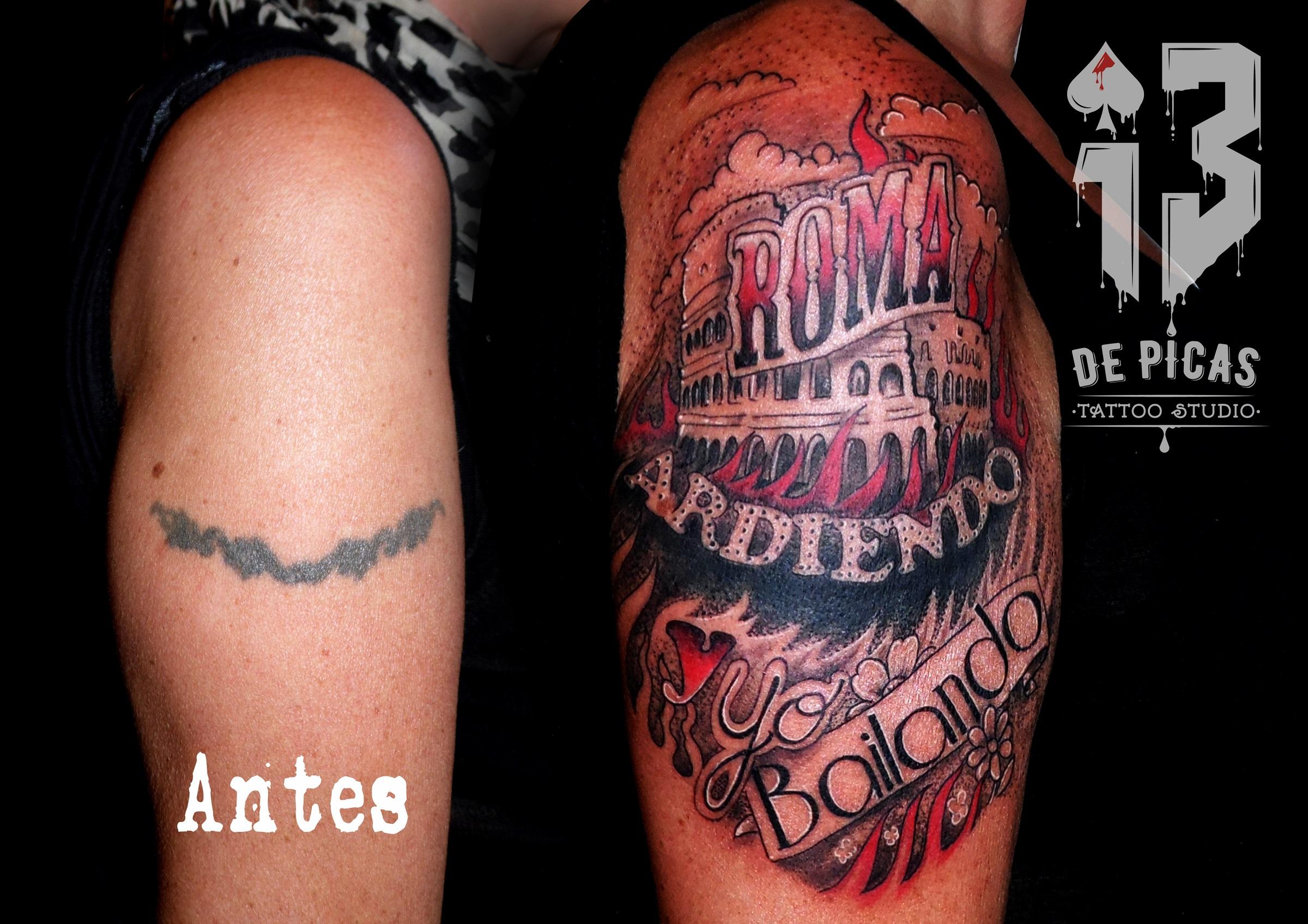 tatuaje tattoo cover coliseo roma llamas fuego brazo color lettering jaca 13depicas huesca