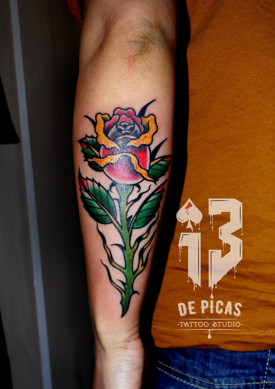 rosa tradicional old school tattoo tatuaje color antebrazo 13depicas jaca huesca