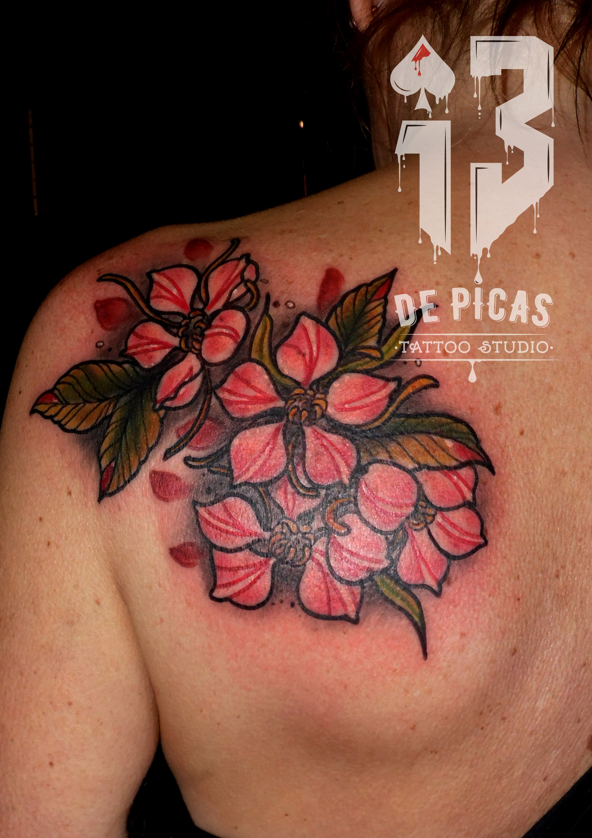 tatuaje tattoo cover tapado flores cerezo espalda color 13depicas jaca huesca