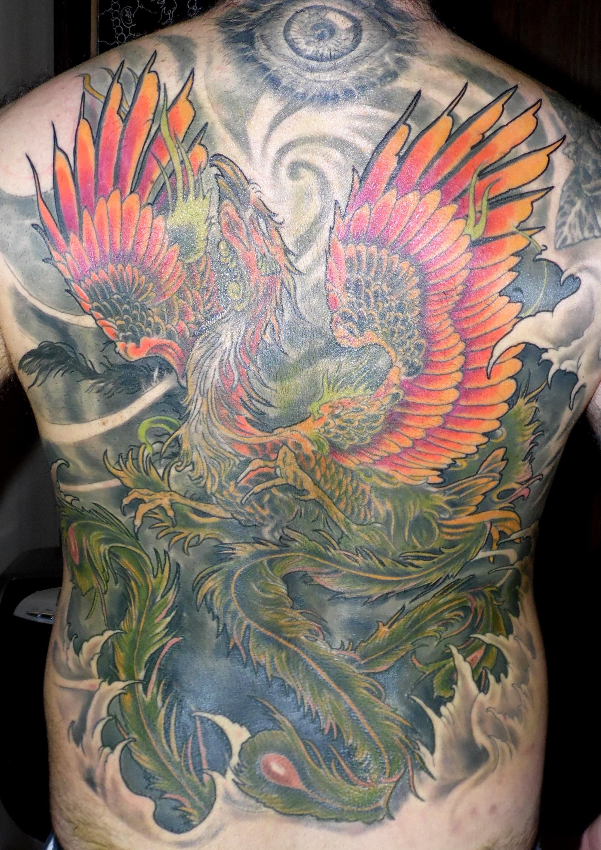 tatuaje espalda entera ave fenix color japones olas 13depicas jaca huesca