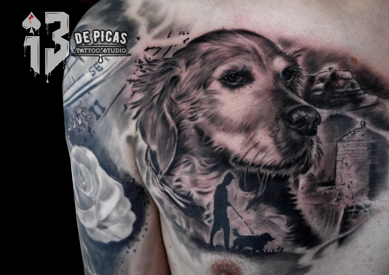 tatuaje tattoo perro retrato ciudadela jaca oroel paisaje montaña realista pecho 13depicas huesca