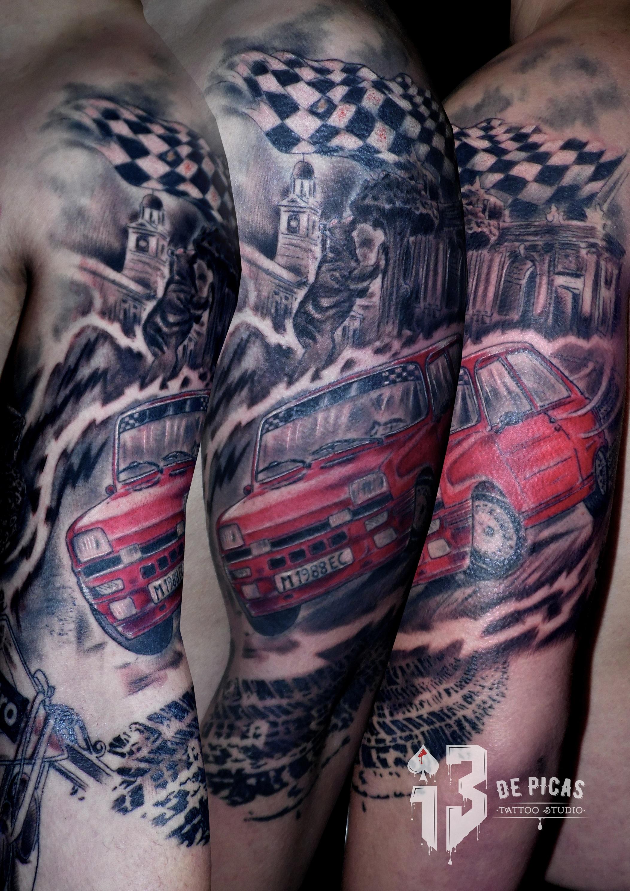r5turbo tatuaje tattoo coche Madrid rallie oso madroño brazo hombro realista 13depicas jaca huesca color