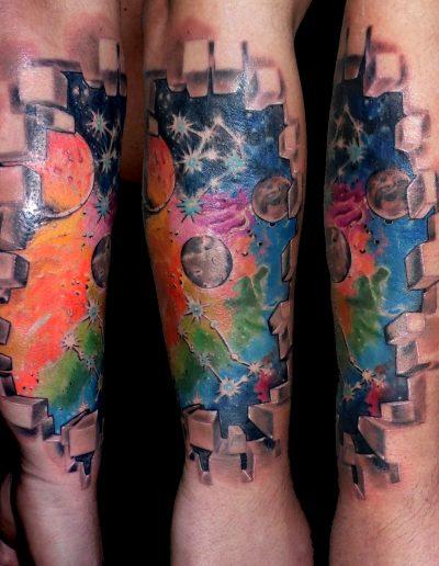 tatuaje planetas universo color piel rota biogenético 13depicas.com jaca huesca