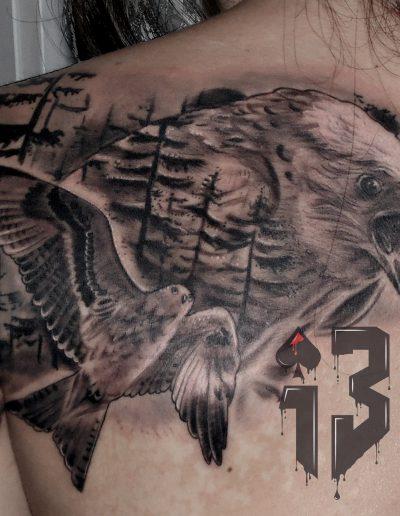 tatuaje tattoo milano espalda realismo bosque aves 13depicas.com jaca huesca